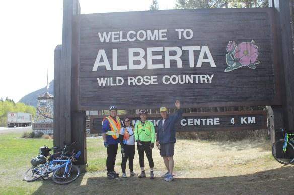 The Riders roll into AlbertaBill Werthmann, Sue Sohnle, Terry Fannon and support driver, Al Carlson.
