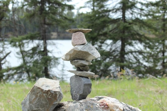 Bill build an Inukshuk, traditionally built to sign the way, and show community camaraderie Click the photo for more images from day 28