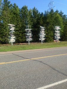 Distance markers to various cities - Thunder Bay International Hostel