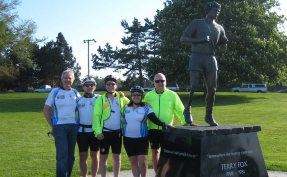 The Cross-Canada Cycling Team l-r: Al Carlson, Patrick Houston, Terry Fannon, Sue Sohnle and Bill Werthmann