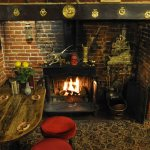 The open fire at the Hill House pub & restaurant