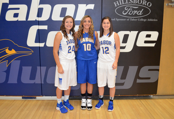 Janae Rempel / Free Press<p>These seniors will form a solid core for the Tabor College women?s basketball team:?(from left) Mallory Zuercher, Taylor Hurd, Kayla Wilgers. Returning all-conference selections not pictured are: Tena Loewen and Kaleigh Troxell.