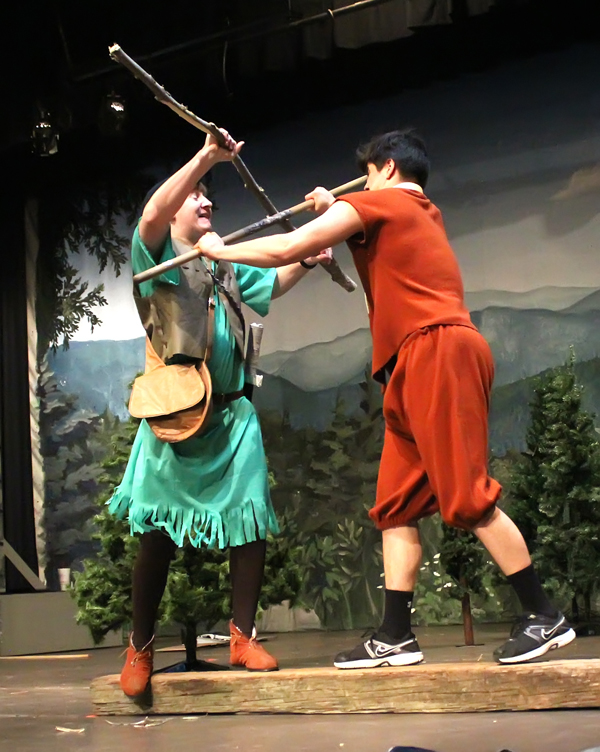 """Robin Hood (Dakota Klein) and Little John ( Jaden Priest) rehearse the memorable showdown for domination from the story of """"Robin Hood,"""" which will be the spring theatrical production at Hillsboro High School with performances Friday and Saturday."""