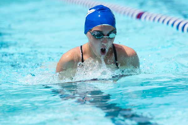 Ainsley Duell took second place in the 50-yard breast stroke event for girls age 13 to 14. Hillsboro won its second straight meet Saturday in Abilene with 761 points. Abilene was second with 482 and Solomon placed third with 141.