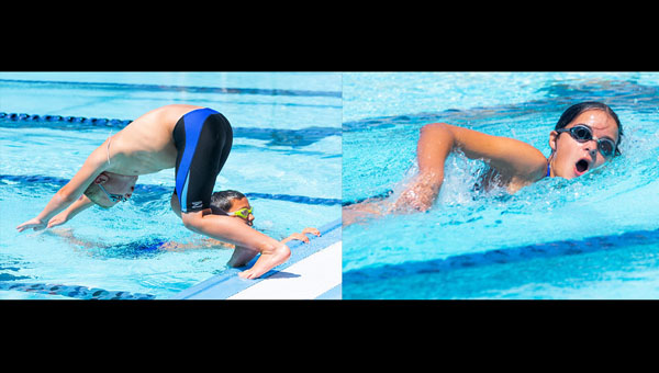 LEFT: Hudson Rogers dives in for his leg of the 8 & Under boys' freestyle relay. RIGHT: Hillsboro's Violet Klein finds her stroke during the freestyle relay for 11-12 year-old girls at the Council Grove swim meet on Saturday. Photos by Karrie Rathbone