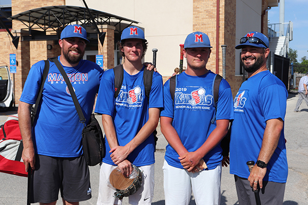 From left: Roger Schroeder, Marion baseball coach and Class 2-1A Coach of the Year; Sam Zinn, Class 2-1A Pitcher of the Year; Evann Heidebrecht, a first-team, all-state selection and Marion assistant coach Jordan Metro pause for a photo at Wednesday's 2019 KABC All-Star Game. Suzi Carlson