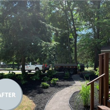 picture of a front yard after landscaping services from Hillside Seasonal Services
