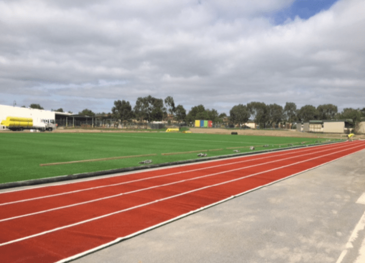 New oval and running track