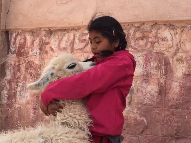 A esta niña y su llama me los crucé en Purmamarca.