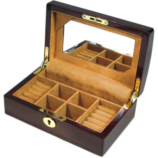 Laminated Mahogany Jewellery Box Hillwood