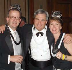 Bob Pfeffer, John Jolley, and Carol Pfeffer from the 2008 edition of the Sandbox's New Year's Eve party.