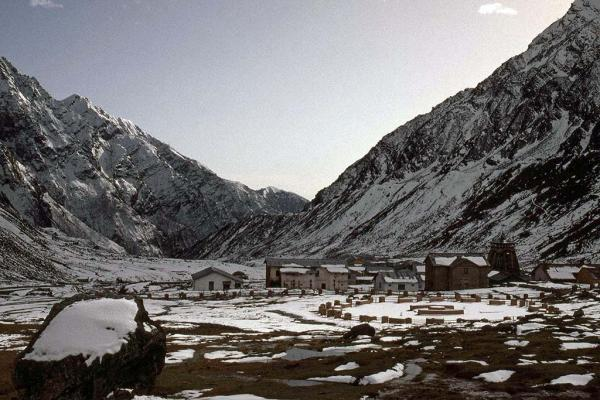 Kedarnath temple and township in the snow