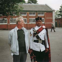 Gurkha Collection - Roy Morris with Piper from Queen's Gurkha Signals