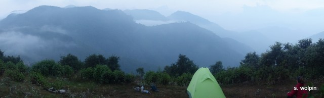 After far too many hours bushwacking up a steep leach infested ridge - we finally found camp