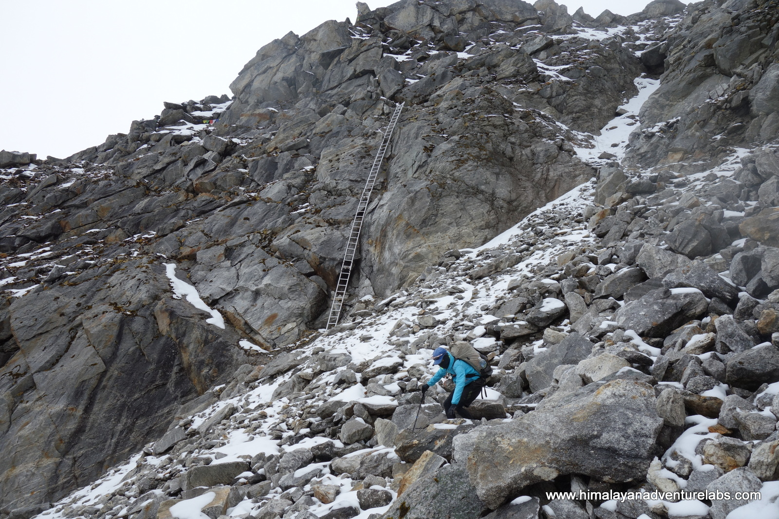 Yes - that is the ladder we skipped. The pass is just up to the left. It gave me flashbacks from the Khumbu Icefall