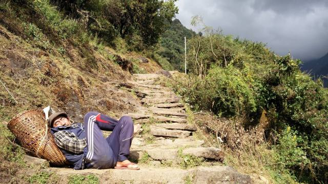 Catching a nap in the Annapurna Sanctuary