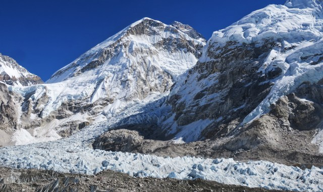 The Khumbu Ice Fall is the most dangerous part of climbing Everest. It is best to enjoy it from a safe distance.