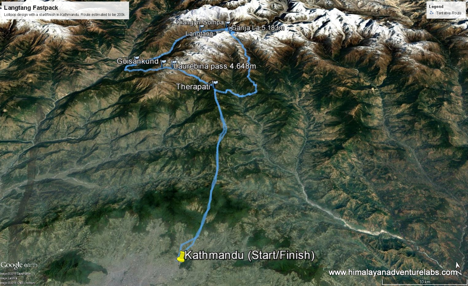 Our goal - a Himalayan lollipop. We are missing the right side of the loop because we could not cross Kanja La. Maybe next time!