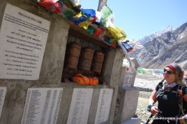 Taking a moment at the Langtang Memorial
