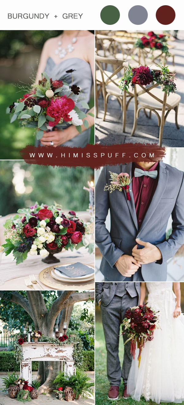 burgundy and gray spring and summer wedding colors inspiration
