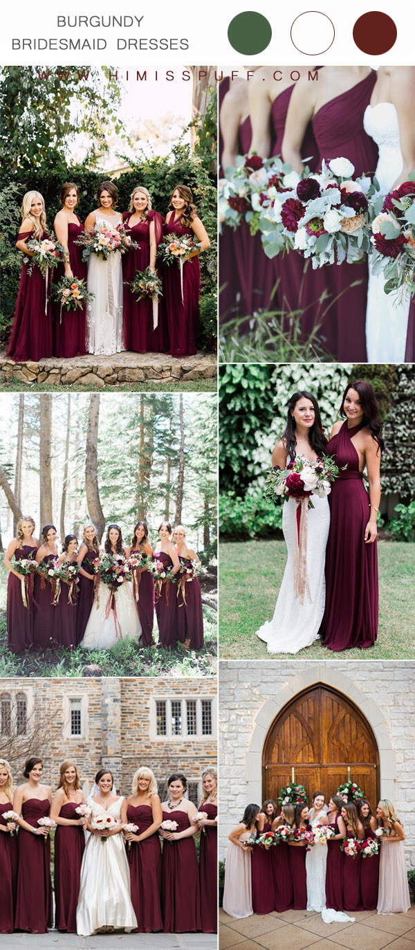 trendy burgundy bridesmaid dresses for wedding