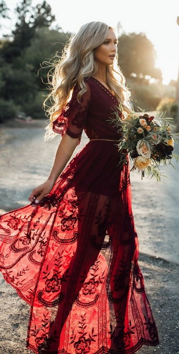 burgundy boho lace bridesmaid dress