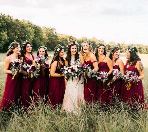 multi-wear burgundy tulle bridesmaid dresses