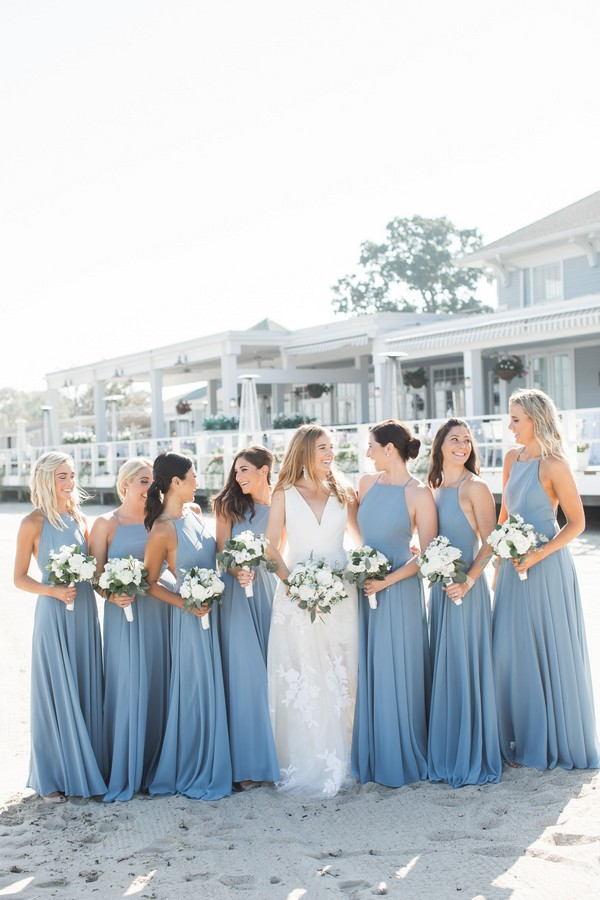 dusty blue halter bridesmaid dresses