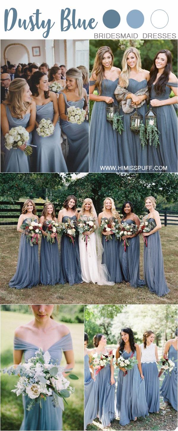 fall dusty blue wedding color ideas - dusty blue bridesmaid dresses