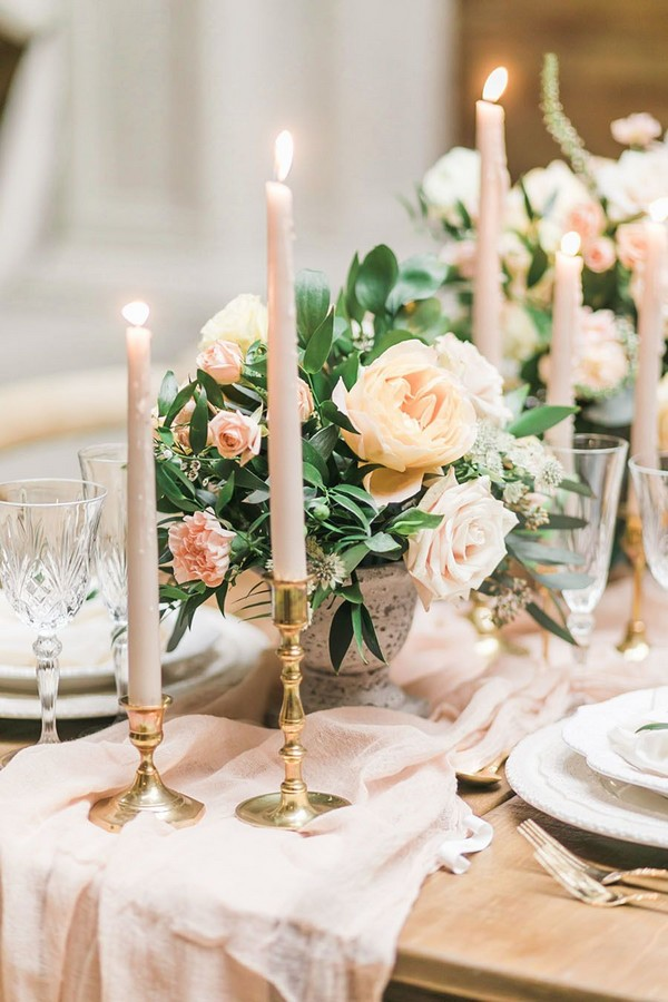 neutral pink wedding centerpiece