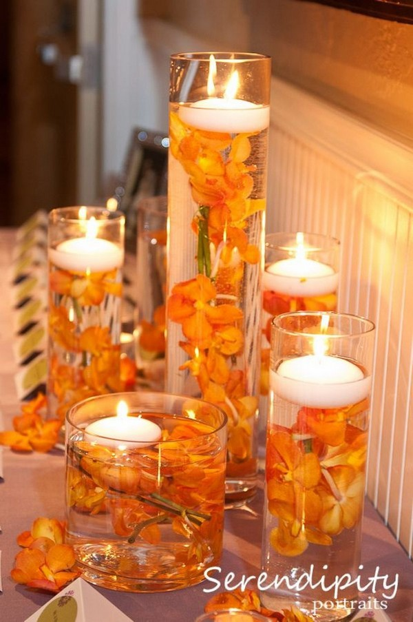 fall orange floating candles wedding centerpiece