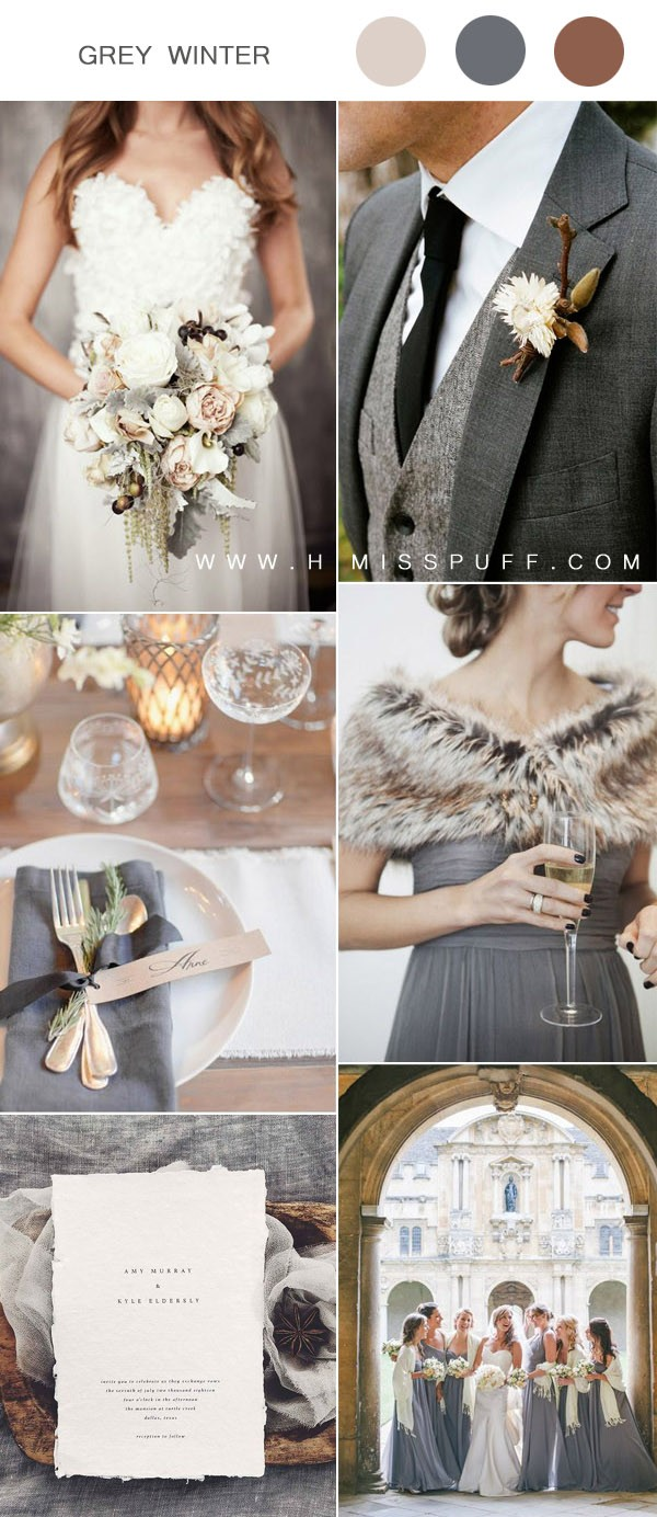 cozy gray winter wedding colors