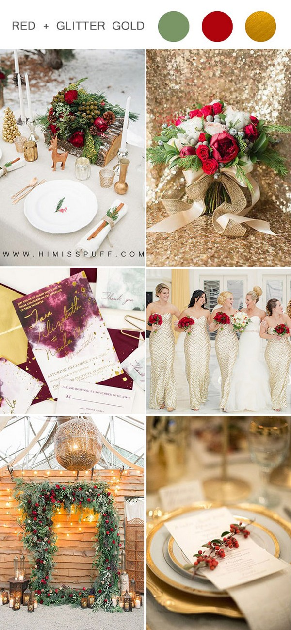 luxurious red and glittery gold christmas wedding theme