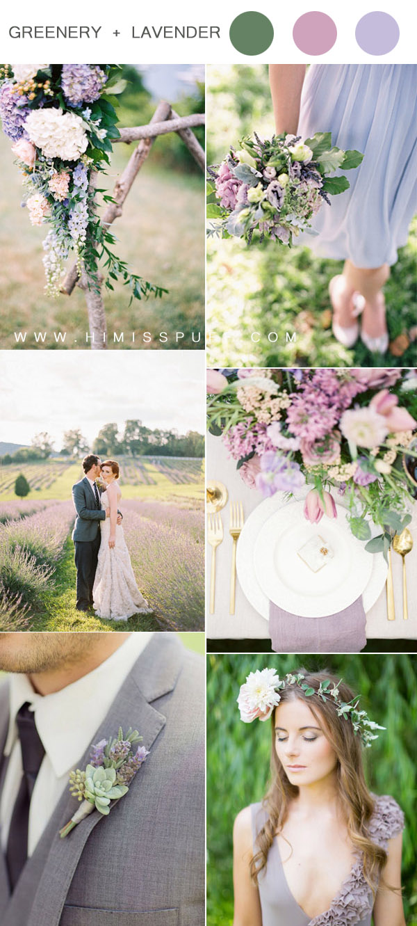 romantic greenery and lavender wedding color inspiration