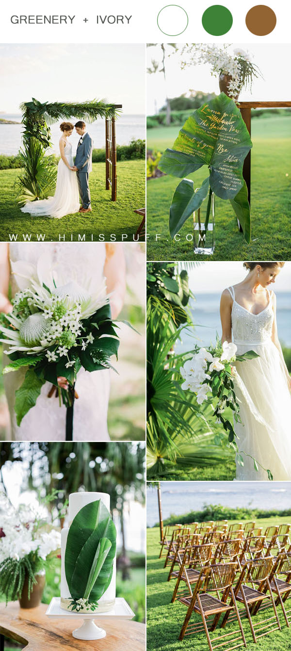 simple green and white tropical weddings