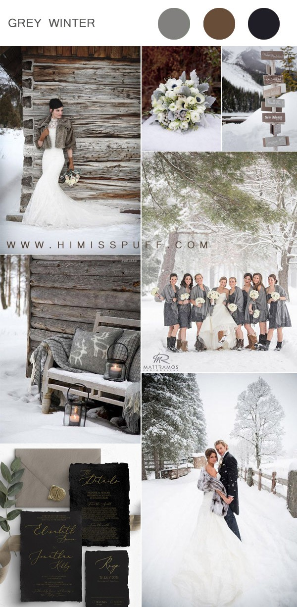 stylish gray winter wedding color inspiration