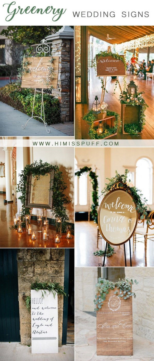 trending greenery wedding welcome signs ideas