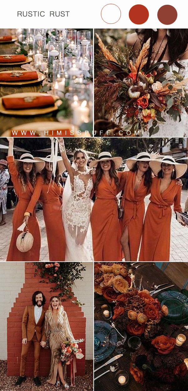 Rust bridesmaid dress wedding bouquet wedding table decor ideas