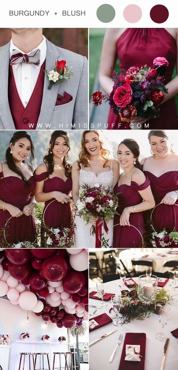 Wine bridesmaid dress bridal bouquet wedding balloons wedding table decor ideas
