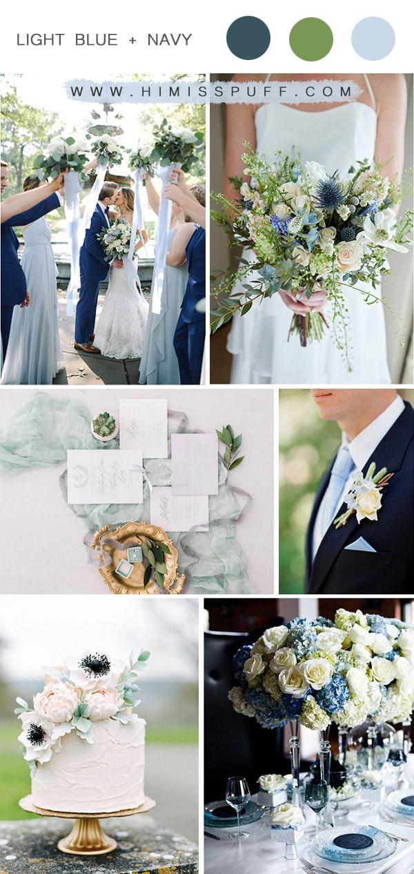 light blue and navy blue beach summer wedding colors