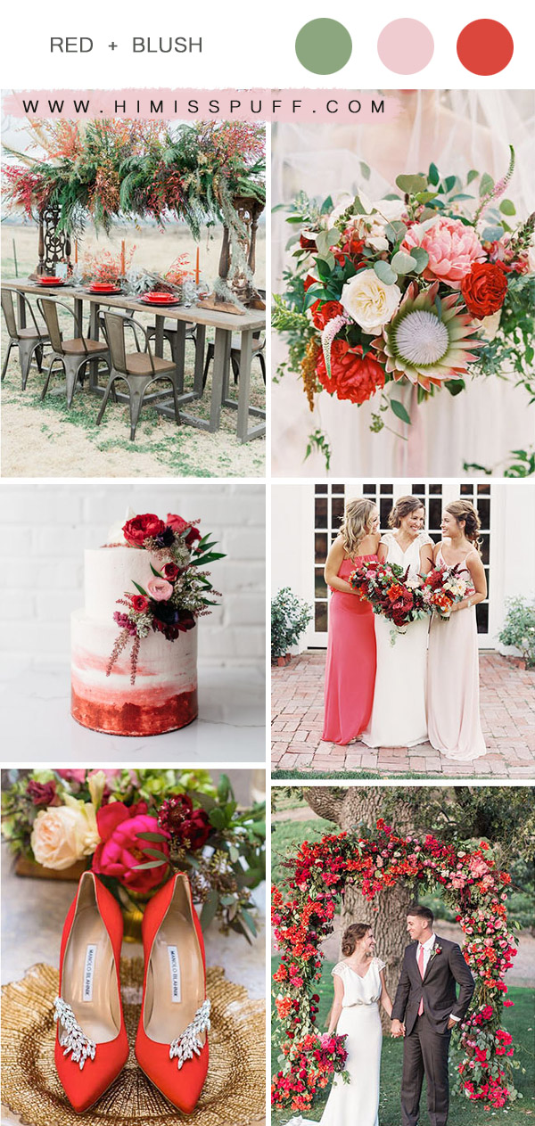 red and blush chic rustic spring and summer wedding color palette ideas