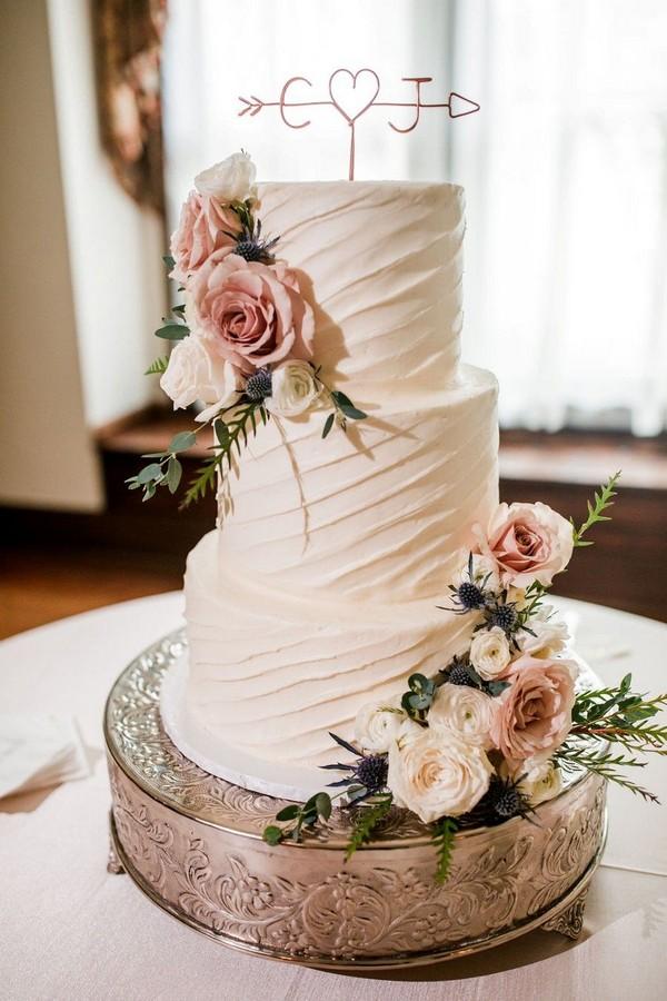 budget friendly elegant simple wedding cakes - - greenery, buttercream, simple, elegant