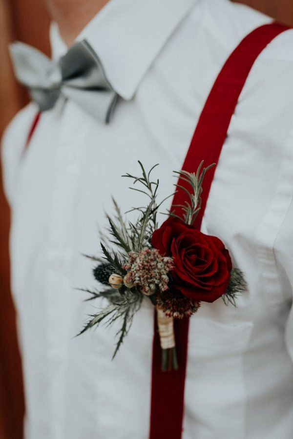burgundy groom boutonniere