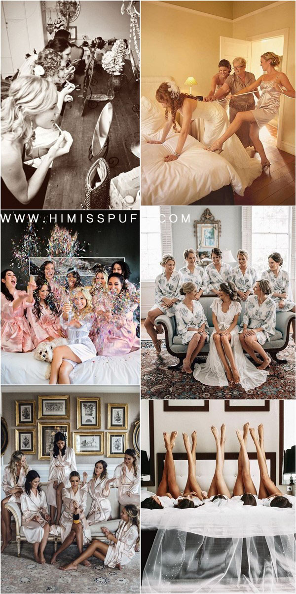 getting ready wedding photo ideas with your bridesmaids