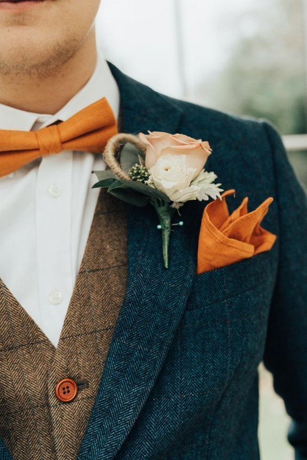 navy and orange, groom tie and boutonniere