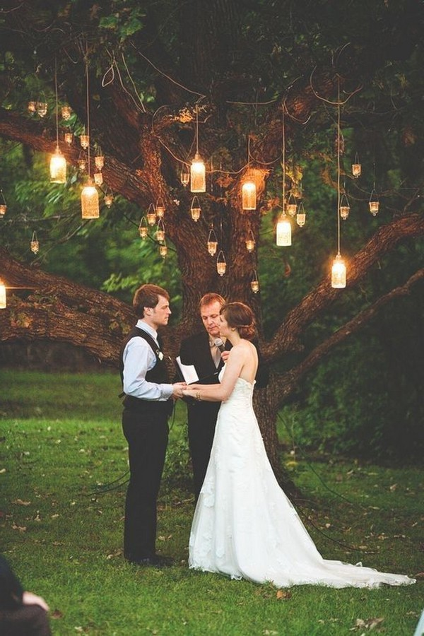 hanging lights wedding backdrop ideas