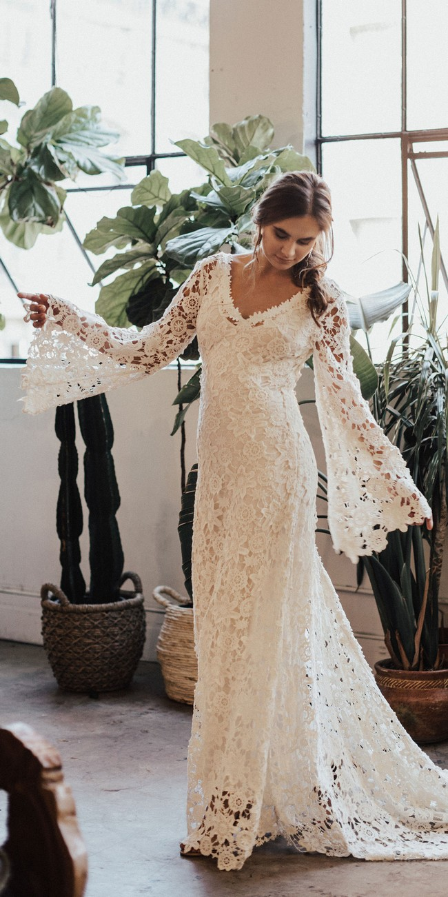 Bell Sleeve Lace Bohemian Wedding Dress with Train