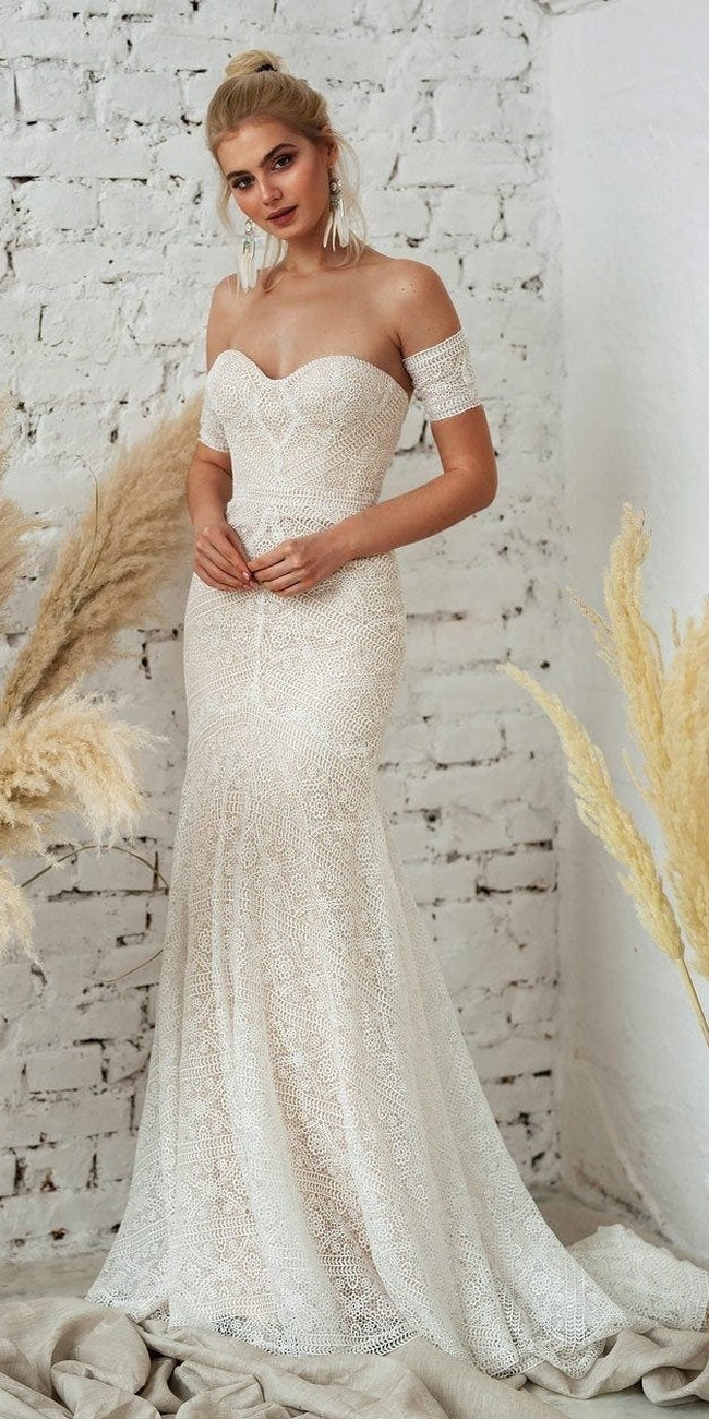 Fit and Flare Bohemin Lace Wedding Dress