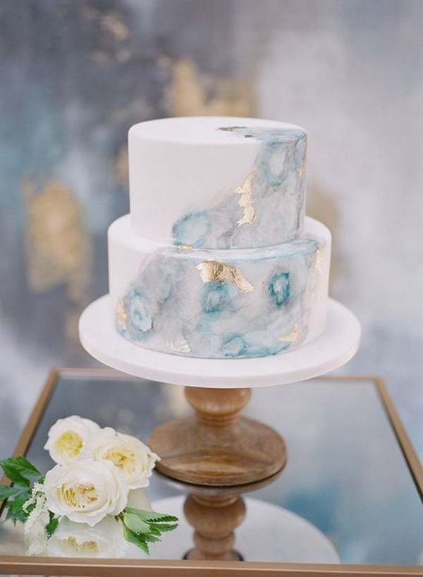 Watercolor Marble Light Blue Wedding Cake Decorated With Gold Leaf