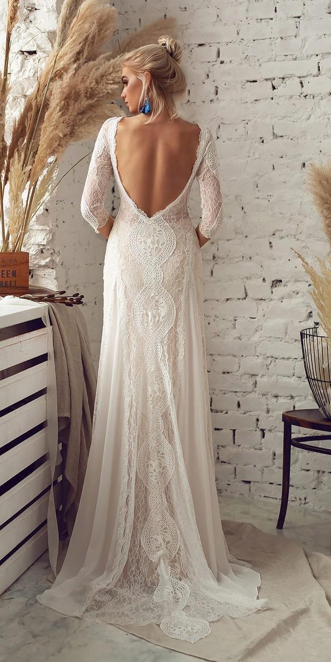 bohemian open back wedding dress with sleeves3